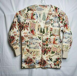 Womens Long Sleeve V-Neck Scrub Jacket Button Front Beige Vintage Christmas sz M