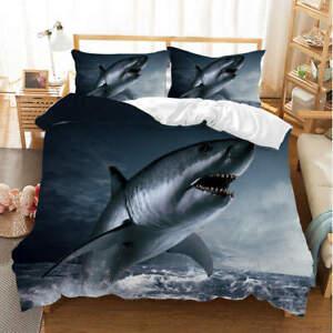 Shark Challenged 3D Quilt Duvet Doona Cover Set Single Double Queen King Print