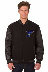 NHL St Louis Blues Wool & Leather Reversible Jacket with Embroidered Logos Black