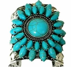 Exquisite Fashion Argent Creux Alliage Turquoise Bracelet Tortue Cruff Bracelets