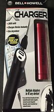 BELL + HOWELL X CHARGER POWER  Charger Red  2600 mAH MULTIPLE ADAPTERS - 9123