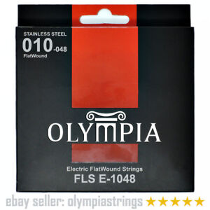 Flatwound Stainless Steel Electric Guitar Strings Pack Set - Olympia FLS E-1048