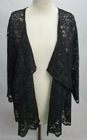 M Chris Black Scallop Edge Sequin Lace Waterfall Cardigan DualSize: 16/18- 24/26