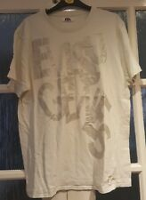 Used Vintage Evisu Qenes XL White and Silver Mens Short Sleeved Tee T Shirt