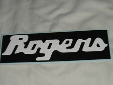 """Rogers drums type decal.TWO COPIES .White on black vinyl.8"""" x 2.5"""".SelfAdhesive."""