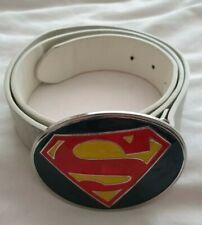 "Genuine Leather Belt & DC comics Superman Buckle Belt SIZE M 32"" - 34"""