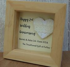 2nd Wedding Anniversary Cotton Gift Personalised Script Frame HeartBox