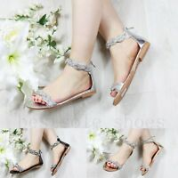 LADIES WOMEN DIAMANTE SANDALS LACE UP ANKLE STRAPPY FLAT SUMMER BEACH SHOES SIZE