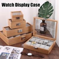 2/3/6/10 Grids Wooden Watch Display Box Jewelry Organizer Storage Show Case