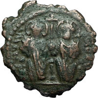 JUSTIN II & Sophia 565AD Half Follis Antioch Ancient Byzantine Coin CROSS i66232