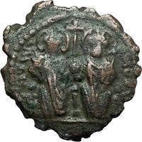 JUSTIN II & Sophia 565AD Half Follis Antioch Ancient Byzantine Coin CROSS i66232