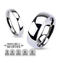 New Stainless STEEL Wedding Ring Glossy Mirror Polished Traditional Band Ring