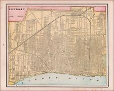 DETROIT, MICHIGAN, antique map, original 1891