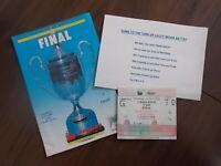 COLNE DYNAMOES v EMLEY FA VASE FINAL 1988 WEMBLEY FOOTBALL PROGRAMME & TICKET