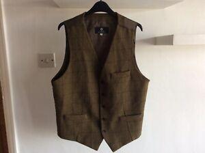 "Tweed Waistcoat Men's Wool Medium 38/40"" Chest Dobell Green Shooting Walking"