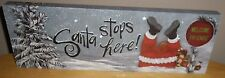 "ChRISTMAS ""SANTA STOPS HERE"" LIGHT UP PICTURE SIGN FRONT PORCH INDOOR"