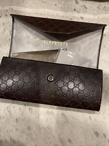 NEW: Authentic Gucci Folding Eyeglass Case w/ Signature Cloth + Auth.Card
