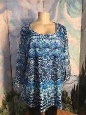 ONQUE WOMAN PLUS 1X NEW BLUE MIX OPEN WORK LINED SCOOP NECK 3/4 SLEEVE TUNIC TOP