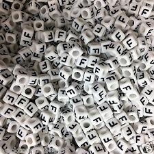 100 x 6mm WHITE Letter F Alphabet Beads, Pony Beads, Dummy Clips