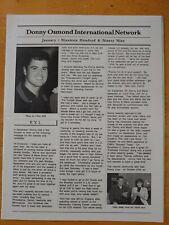 Donny Osmond Fan Club Newsletter Doin Jan 1999