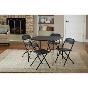 5-Piece Folding Dining Set, Kitchen Card Game Table Set Party Foam Pad Chairs