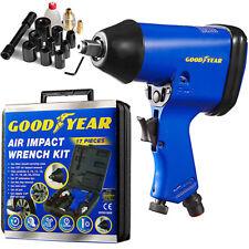 "Goodyear 17pc Professional Air Impact Wrench Gun Kit 1/2"" Drive + Sockets + Case"