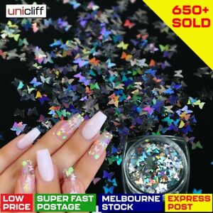 Butterfly Nail Flakes Glitter Sequins Holographic 3D Sparkle Slice Mirror Art AU