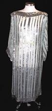 Vintage 100% Silk Sea Foam Green Silver Sequin Sheer Gown Maxi Dress Retro Glam