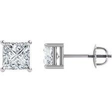 5Mm 1 Ct Princess Earrings Moissanite 14k White Gold Charles Colvard Classic
