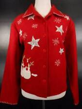 Beautiful Women's Medium Take Two Red w/ Silver Stars Snowflakes Snowman Jacket