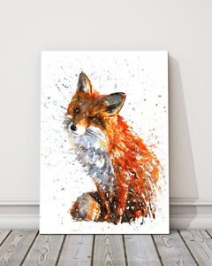 fox watercolour paint splash canvas picture framed portrait