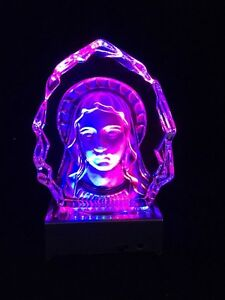 Virgin Mary - Crystal Etched Iceberg With Led Light