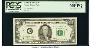 $100 1969 FRN Fr#2164-G (GA Block) PCGS 65 PPQ Gem Uncirculated