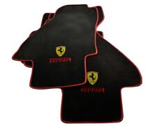 Floor Mats For Ferrari Mondial 1980-1993 Carpets With Emblem & Red Rounds LHD