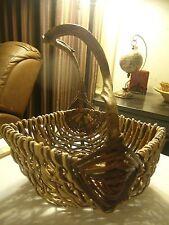 Wicker Basket Woven Rattan w/ Twisted Tree Branch handle Gathering Woven Rattan
