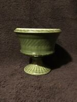 Vintage Haeger USA Glazed Pottery Dark Green Pedestal Planter Vase