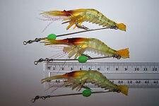 3x pre-rigged soft plastic prawn shrimp fishing lure 9.5cm, Flathead, Snapper.
