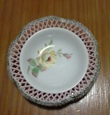 Beautiful Vintage Handpainted Japanese Pierced Edge Pin Dish with Gilt Edge