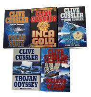 Lot of 5 Clive Cussler Books  Novel HC Inca Gold Arctic Polar Trojan Treasure