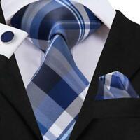 USA Blue Grey White Striped Plaids&Checks Mens Tie Necktie Set Silk Woven