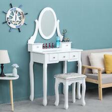Modern Dressing Tables Vanity Desk Makeup Table Set With Mirror&Stool Bedroom BN