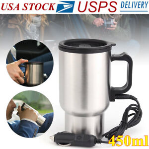 12V Car Heating Cup Electric Kettle Thermal Heater Boiling Coffee Bottle 450ML