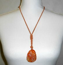 Antique 1920 China Export Carved Red Carnelian Jade Lavalier Silk Rope Necklace