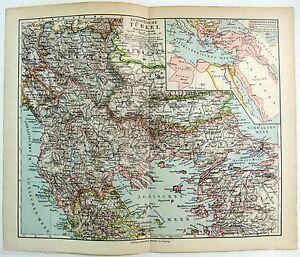 Original 1900 German Map of European Turkey by Meyers. Antique
