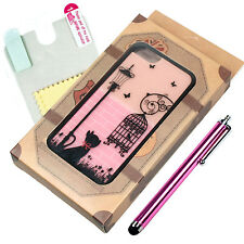 Fashion Cute Kitten & Birdcage Hard Cover Skin Case for Apple iPhone 5 5G 5S