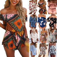 Women's Boho Summer Mini Playsuit Romper Jumpsuit Beach Holiday Shorts Sun Dress