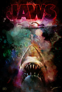 "JAWS by Freddy Miet 31"" x 47"" LIMITED ART PRINT Original Movie Poster"