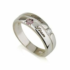 Mothers Ring Engraved Birthstone Ring 2 Stones Ring -925 Sterling Silver