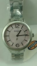 BRAND NEW FOSSIL BQ1464 SILVER TONE PURPLE DIAL STAINLESS STEEL WOMEN'S WATCH