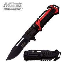 Spring-Assisted Folding Pocket Knife Mtech Red Black Led Light Serrated Tactical